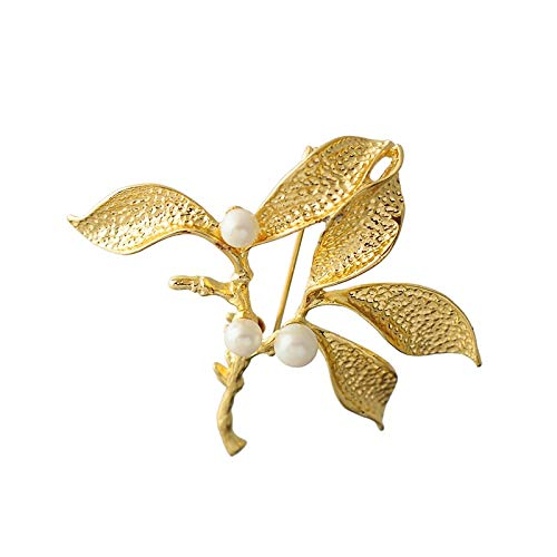 New Creative Design High-grade Gold Color Tree Branch Leaf Imitation Pearl Jewelry Gorgeous Women Full Dress Brooch Pin