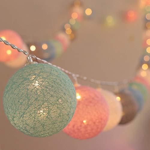 LED Bolas de Algodón Luces Decorativas Habitación, Guirnaldas Luminosas de Cadena con Luz Blanca Cálida 3M 20 LEDs Cotton Ball Lights para Exterior Interior Decoración para Pared,Escalera,Navidad