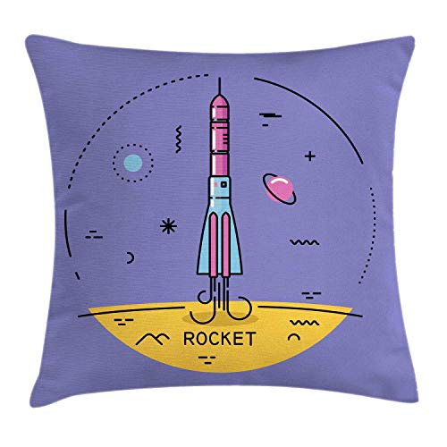 SSHELEY Aerospace Throw Pillow Cushion Cover, Concept of Cosmic Rocket Calligraphy and Ornaments in Round Layout Pillow Case