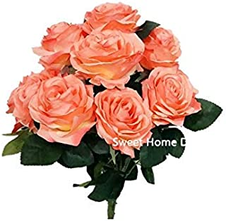 Sweet Home Deco 18'' Princess Diana Rose Silk Artificial Flower Valentine's Day (10 Stems/10 Flower Heads), The Most Beautiful Roses for Wedding/Home Decor (Coral)