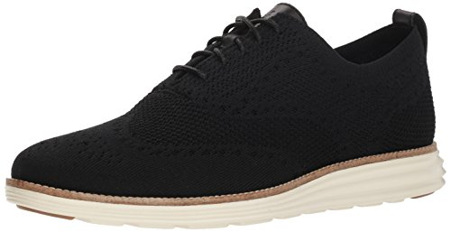Cole Haan Men's Original Grand Knit Wing TIP II Sneaker, BLACK/IVORY, 10 M US