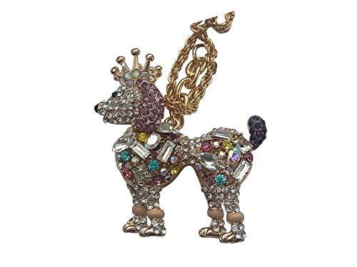 Collar largo con colgante XL, diseño de corona de perro con brillantes, multicolor