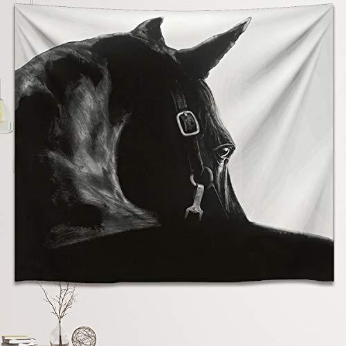 HLKJGS Tapiz Blanco Y Negro para Colgar En La Pared, Pintura De Arte Lateral De Caballo, Tapiz Colgante para Dormitorio, Sala De Estar, Alfombras De Playa (200X150cm)