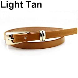 chowying Womens Fashion Candy Color Faux Leather Buckle Skinny Belt Thin Waistband Sash