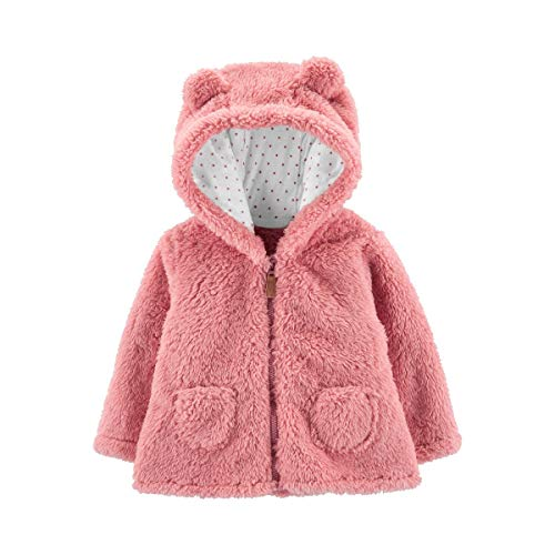Carter's Zip-Up Sherpa Cardigan Jacket, Pink Sherpa, 6 Months