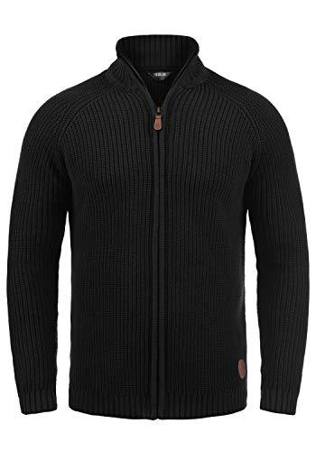 !Solid Xenos Herren Strickjacke Cardigan Grobstrick Winter Pullover mit Stehkragen, Größe:XL, Farbe:Black (9000)