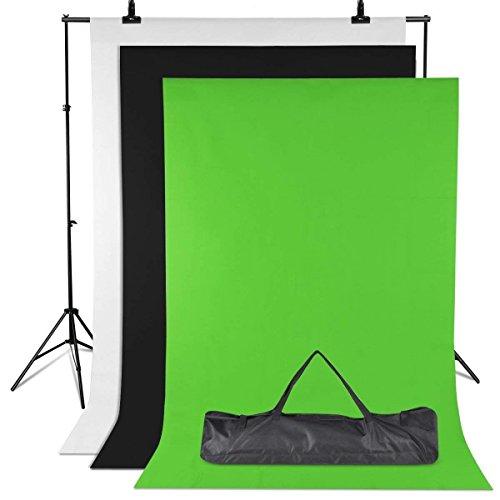 Système de Support Fond Photo Kit, 2m x 1.6m Blanc Noir Vert, Toile de Fond avec Support Réglable de 3 x 2 m, 3 Pinces et Sac de Transport pour Studio Photo Vidéo et Photo