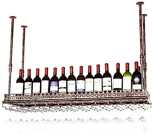 Estante para vino Estante para vino de pie de altura ajustable Estante para vino montado en la pared Estante para botellas de vino Hierro de metal Decoración de barra retro Portavasos colgante 80cm