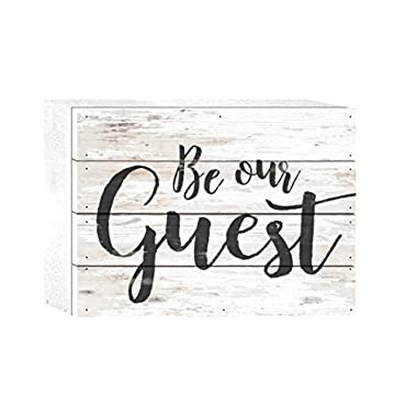 Be Our Guest Script Whitewash 8 x 6 Solid Wood Boxed Pallet Plaque Sign