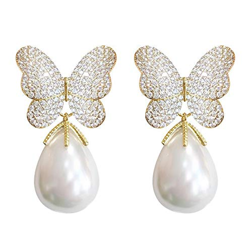 JCX 2021 nuevos Pendientes de Perlas Pendientes de Mariposa