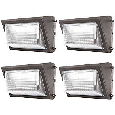 Sunco Lighting 4 Pack 80W LED Wall Pack, Daylight 5000K, 7600 LM, HID Replacement, IP65, 120-277V, Bright Consistent Commercial Outdoor Security Lighting - ETL, DLC