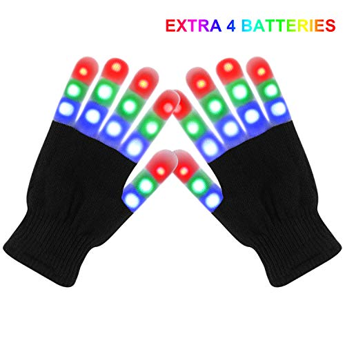 Lafefo LED Gloves - LED Light Up Gloves with 3 Colors 6 Modes, LED Gloves for Rave, Party Supply, Halloween, Christmas, Extra Replacement Batteries