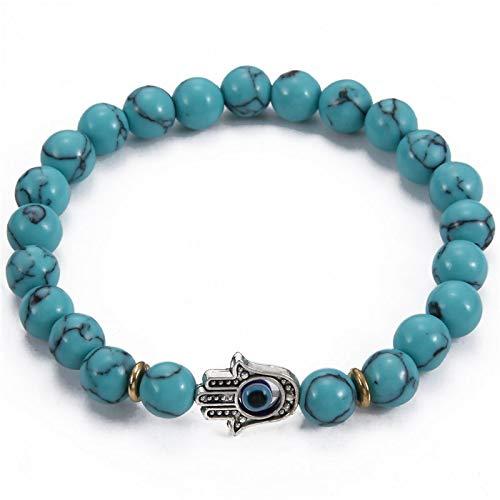 Nobrand Antike Goldfarbe Hand Von Fatima Hamsa Charm Armband Mala Perle Stein Evil Eye Amulett Perlen Armbänder Für Männer Frauen Geschenk