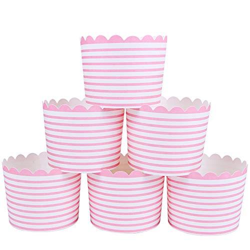 webake Muffin Papierförmchen Cupcake Formen Papier 50 Stück Muffins Muffinförmchen Backformen in Rosa Streifen Förmchen