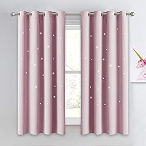 NICETOWN Space Inspired Night Sky Twinkle Star Kid's Room Curtain, Creative Nursery Blackout Window Curtains for Bedroom
