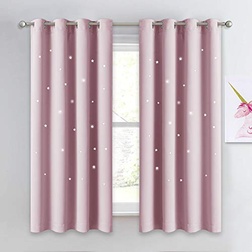 """NICETOWN Star Window Curtains for Children - Star Stamp Cut Room Darkening Drapes and Draperies for Girls Room (Lavender Pink=Baby Pink, Set of 2 Panels, 52"""" x 63"""")"""