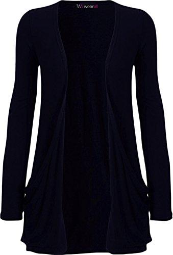 WearAll - Damen langarm Cardigan mit taschen - 17 Farben - Größe 36-50 - Marineblau, ML 12-14