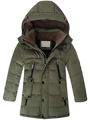 Mallimoda Big Boy's Hooded Bubble Jacket Heavyweight Solid Puffer Coat Style 1 Dark Green 13-14 Years