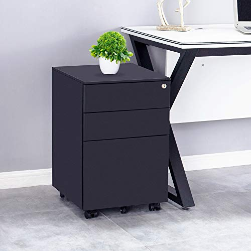 DANGRUUT Best Compact 3-Drawer Mobile File Cabinet with Lock, Fully Assembled Metal Vertical Filing Cabinet with Wheels for Letter Size Files, File Storage Organizer, Anti-tilt Structure (Black)