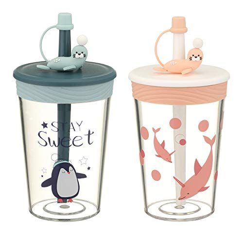 VACADAHH 15 Oz Spill Proof Toddler Cups BPA Free Straw Lid-Unique Design Silicone Sleeve Tumbler for...