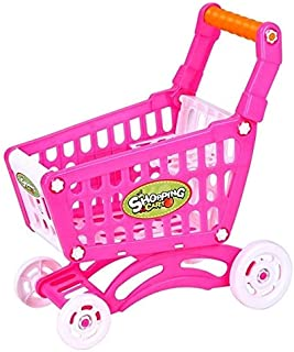 Toys&Hobbies Children Toy Hand Push Plastic Simulation Mini Supermarket Shopping Cart Baby Fun Toddler Stroller(Pink) (Col...