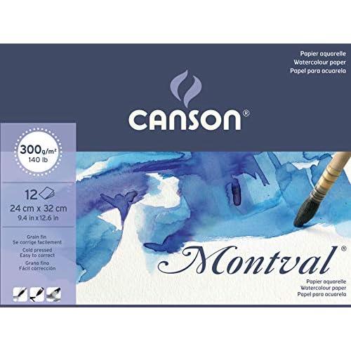 Blocco Linea Acquerello Montval Canson - 24x32 cm - 300 g/mq - 12 fogli - 200807319