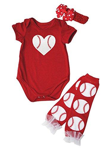 Petitebella Béisbol Corazón Rojo Bebé Body Calentador de piernas Nb-24m (12-24mes)