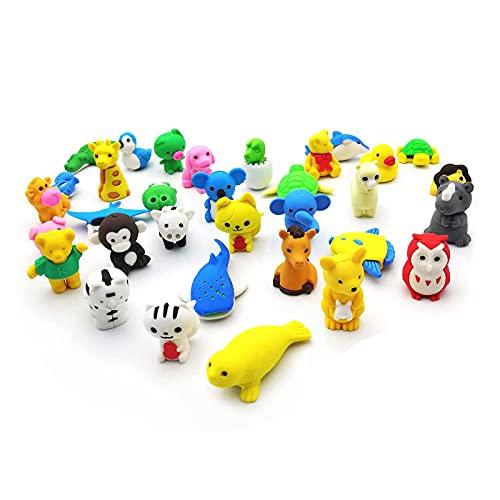 36 pz Gomme da Cancellare a Forma di Animali per Bambini, Set di gomme per Animali 3D, Scuole, Alunni, Cancelleria Scuola Giocattolo Creativa, Premi di Giochi, Carnevali e Materiale Scolastico