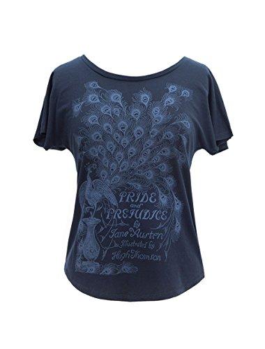 Camiseta de manga morcego feminina com tema literário de livro com estampa Out of Print, Pride and Prejudice - Navy, Medium