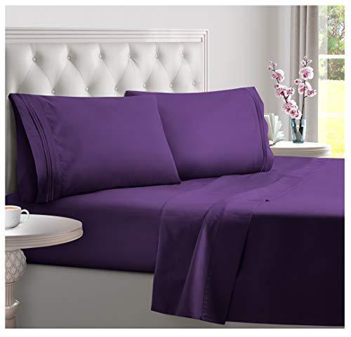 DREAMCARE Deep Pocket Sheets Microfiber Sheets Bed Sheets Set 4 Piece Bedding Sets King Size, Purple