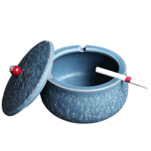 zmmuh cenicero Cenicero a Prueba de Viento para Cigarrillos, Titular de Ceniza de cerámica Azul con Tapa domiciliaria decoración Interior de Oficina