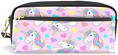 Estuche para lápices, diseño de unicornio con corazones impresos, bolsa de maquillaje de viaje de gran capacidad, impermeable, 2 compartimentos para niñas, niños, mujeres y hombres