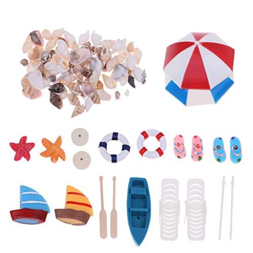 WOWOWO Playa Sombrilla Kits de Conchas para Barcos Miniatura Paisaje Hada 1/12 Casa de muñecas Jardín Estatuilla Miniatura Adorno Decoración
