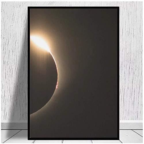 Pintura en lienzo 2017 Eclipse solar - Anillo de diamantes Arte de la pared Impresión en lienzo Tela de seda Cartel de la pared Decoración artística Dormitorio -20x28in Sin marco