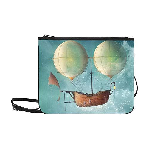 WYYWCY Lustige 3d Steampunk Heißluftballon Muster Benutzerdefinierte hochwertige Nylon Schlanke Handtasche Umhängetasche Umhängetasche