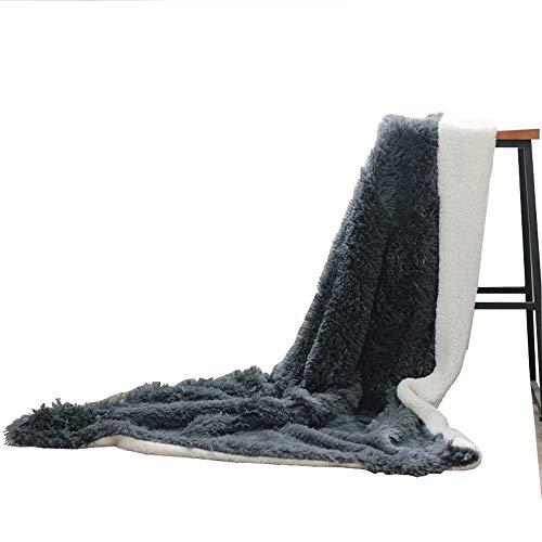 Mannisha Couvre-lit en fausse fourrure Couverture pour canapé Poids léger Panier en peluche à longs poils Couverture, Microfibre, gris charbon, Throw(130x160cm)