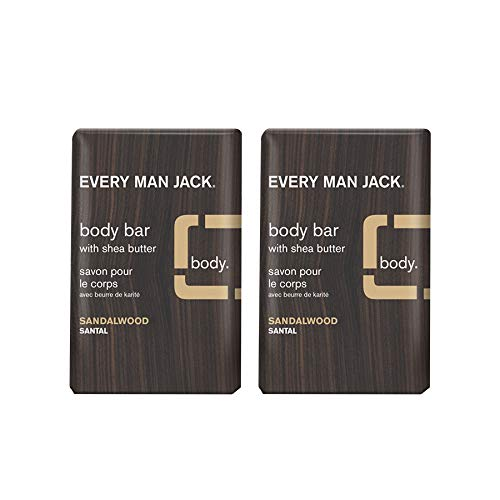 Every Man Jack Men's Body Bar - Sandalwood | 7.0-ounce Twin Pack - 2 Bars Included | Naturally Derived, Parabens-free, Pthalate-free, Dye-free, and Certified Cruelty Free