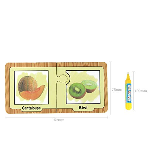 Review Of Childre Painting Card for Fruit, TechCode 16pcs Graffiti Book Reusable Water Drawing Cards with 1 Drawing Pen Cognitive Cards Travel Doodle Board Toy Safe and Non-toxic For Children Toddlers Kids (SG)