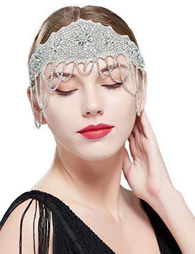 Coucoland 1920s Flapper Hoofdband Crystal Great Gatsby Hoofdstuk Kralen Vintage Bruiloft Bruids Haarband met Ketting Style1-Sliver