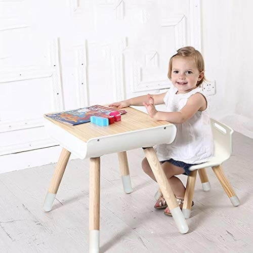 Wooden Table Chair Set for Toddles Funitures with Storage Kids Activity Table Stool Set for Home, School Height Adjustable Desk Set, White