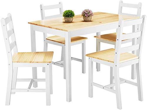 Mesa de comedor de madera fija con cuatro sillas muebles de comedor moderno,Natural Pine
