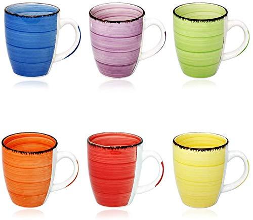 DRULINE 6er Set Kaffeetasse Kaffeepott Kaffeebecher Tassen Bürotasse Trinkbecher Becherset Mehrfarbig Kaffee Tee Milch Kakao Keramik Becher ca.400 ml (Ø x H) ca. 8,5 x 10 cm (Uni Kaffeebecher)