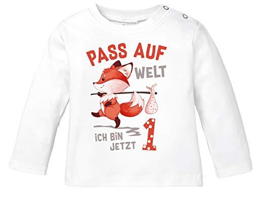 MoonWorks® Baby Langarm-Shirt 1. Geburtstag Pass auf Welt ich Bin jetzt 1 2 Fuchs Geburtstagsshirt Bio-Baumwolle 1 weiß 80/86 (10-15 Monate)