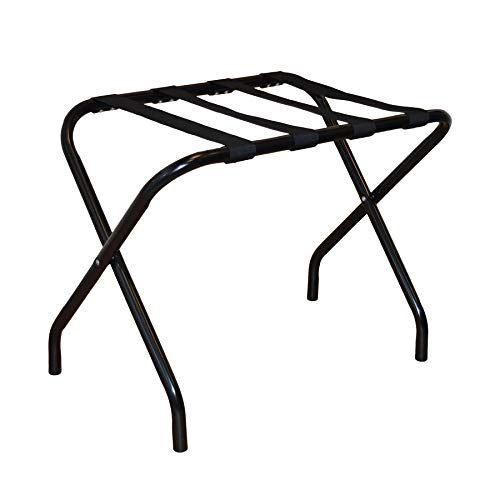 Harbour Housewares Folding Metal Luggage Rack Suitcase Stand - Black