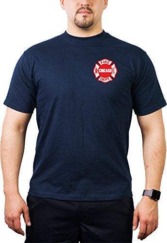 feuer1 Camiseta de Chicago Fire Dept–Emblema de estándar en el pecho de bomberos de Chicago, hombre, azul marino, small