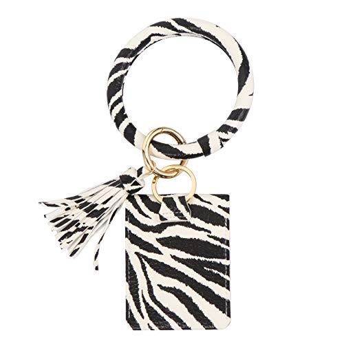 VALICLUD Bracelet Porte-Clés avec Pompon Motif Zèbre Pu Alliage Carte Poche à Monnaie Bracelet Cercle Gland Porte-Clés Bracelet Breloques pour Bricolage Sac de Clé de Voiture Décor