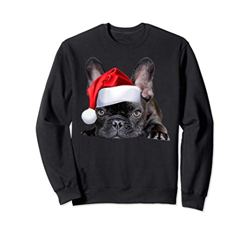 Cute French Bulldog Santa Hat Frenchie Image Christmas Gift Sweatshirt