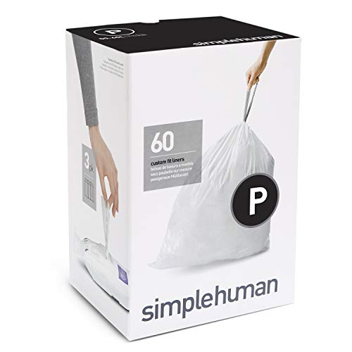 simplehuman Code P Custom Fit Drawstring Trash Bags, 50-60 Liter / 13-16 Gallon, 3 Refill Packs (60...
