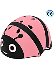 YGJT Fietshelm voor kinderen 2-5 jaar oud Lichtgewicht Fietshelm Kids Cartoon Helmen Multi-Sport Veiligheid Speelgoed voor Kids Protection Gear (Roze bij, S voor 2-5 jaar oud)