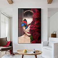 アートプリント抽象的な壁アート写真ファッション女性蝶赤いバラキャンバス絵画寝室の壁の装飾ポスター60x80cmフレームレス